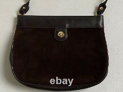 Rare sac à main cuir suédé CELINE Paris vintage 1960/1970