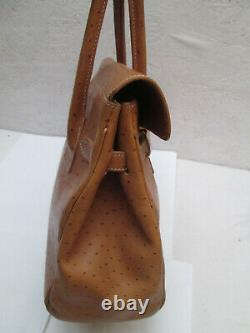 -SABATIER sac à main cuir autruche TBEG vintage bag authentique