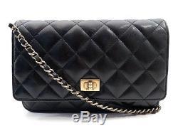 Sac A Main Chanel Wallet On Chain Pochette Bandouliere Cuir Noir Purse Woc 1915