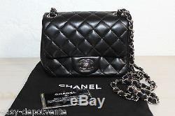 SAC A MAIN FEMME CHANEL MODELE TIMELESS CUIR NOIR CHAINE ARGENT SILVER HAND BAG