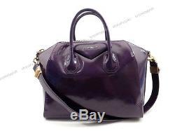 Sac A Main Givenchy Antigona Medium En Cuir Verni Violet Hand Bag Purse 1650
