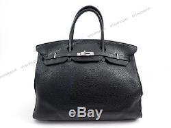 SAC A MAIN HERMES BIRKIN 40 CM CUIR TAURILLON CLEMENCE NOIR HAND BAG PURSE 8400