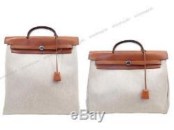 Sac A Main Hermes Herbag 2 Cabas 38 + 40 CM Cuir & Toile Blanc Hand Bag 1770
