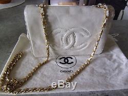 Sac A Mains Chanel Cuir Ivoire Vintage, Chaine Doree, Porte Epaule