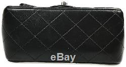 Sac Chanel Mini Timeless Square Noir Bag Black Quilted Leather Purse Silver
