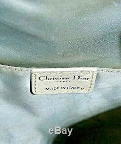 SAC CHRISTIAN DIOR Vintage 100% Authentique goutte d'eau Blanc toile & cuir