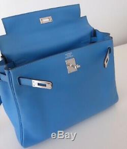 SAC HERMES KELLY 25 BLEU PARADIS (birkin bag, tasche, borsa)