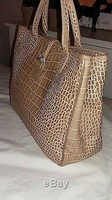 Sac Longchamp Cuir Facon Croco Beige Tbe