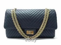 Sac A Main Chanel 2.55 Moyen Cuir Chevron Bleu Marine Bandouliere Hand Bag 6050