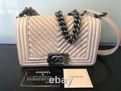 Sac A Main Chanel Boy, 20cm, Beige, Etat Top, Peu Porte, Carte Et Housse