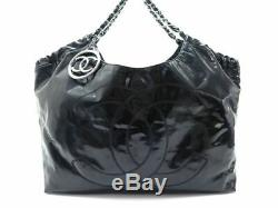 Sac A Main Chanel Cabas Coco Gm En Cuir Verni Noir Black Leather Handbag 1755