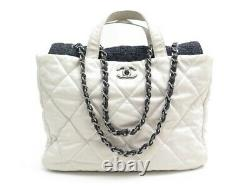 Sac A Main Chanel Cabas Shopping Logo CC Cuir Matelasse Blanc & Tweed Bag 4700