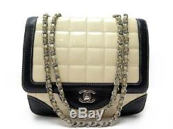 Sac A Main Chanel Fermoir Timeless Bandouliere En Cuir Verni Beige Handbag 3800