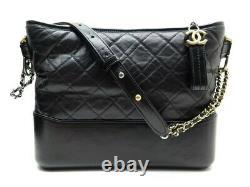 Sac A Main Chanel Gabrielle Cuir Matelasse Noir + Boite Leather Hand Bag 4100