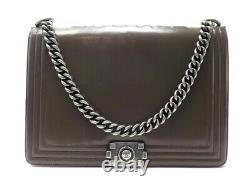 Sac A Main Chanel Grand Boy Bandouliere En Cuir Marron Leather Hand Bag 5400