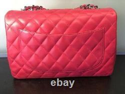 Sac A Main Chanel Jumbo 30cm Rose Bonbon, Rare, Etat Nickel, Carte Et Housse