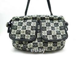 Sac A Main Chanel Motifs Camelia Toile Et Cuir Noir Beige Canvas Hand Bag 2200