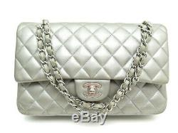 Sac A Main Chanel Timeless Classique Medium Cuir Matelasse Argent Hand Bag 6050