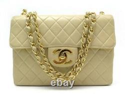 Sac A Main Chanel Timeless Jumbo Bandouliere Cuir Matelasse Beige Hand Bag 6600