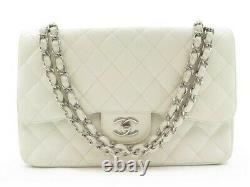 Sac A Main Chanel Timeless Jumbo Cuir Caviar Matelasse Blanc Bandouliere 6600