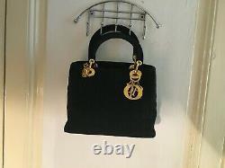 Sac A Main Christian Dior Lady Soft Cal44942 En Noir Cannage Noir Hand Bag 1970