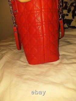 Sac A Main Christian Dior Rouge En Cuir Femmes Tissu. Red Handbag Dior