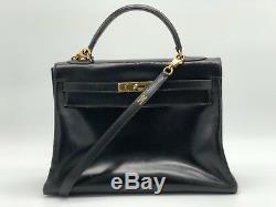 b27f460c85 Sac A Main En Cuir Box Hermès Kelly Noir Bandoulière Leather bag auth