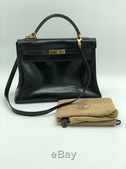 Sac A Main En Cuir Box Hermès Kelly Noir Bandoulière Leather bag auth