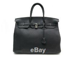 Sac A Main Hermes Birkin 40 Cuir Togo Noir & Attributs Palladie Boite Hand Bag