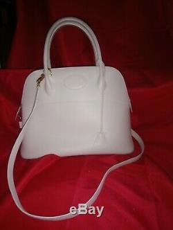 Sac A Main Hermès Bolide cuir box blanc crème et sa bandoulière