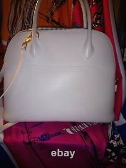 Sac A Main Hermès Bolide cuir box blanc crème et sa bandoulière. Numerote