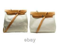 Sac A Main Hermes Herbag Cabas 38 + Cabas 40 Toile Et Cuir Beige Hand Bag 1770