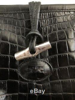 Sac Cabas Longchamp Ligne Roseau Façon Crocro Noir Grand Modèle