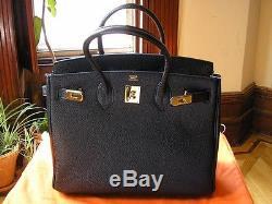 Sac Hermès BIRKIN 35cm Noir Cuir Black Handbag Leather