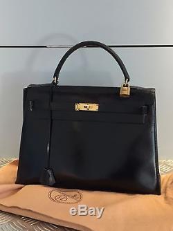 Sac Hermès Kelly Sellier Noir Bag Vintage Authentique 396ce09315a