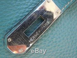 Sac Hermes Birkin cuir taurillon clemence bleu année 2009 Hermes birkin 40cm