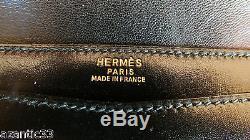 Sac Hermes pochette cuir noir Lydie purse handbag