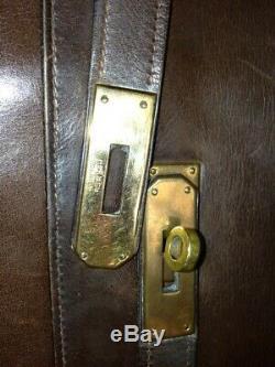 Sac Kelly HERMES cuir box brun 32cm