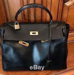 Sac Kelly Hermes Vintage Box 32 CM Noir 79560e8ca4e
