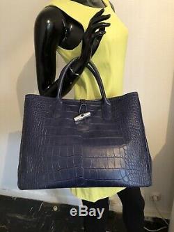 Sac Longchamp Ligne Roseau Façon Crocro Bleu Grand Modèle