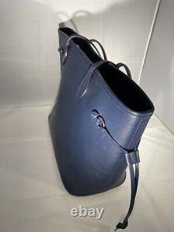 Sac a Main Authentique Louis Vuitton Neverfull MM Cuir Epi indigo blue