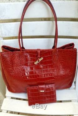 Sac a Main épaule Cabas Longchamp Roseau cuir Croco Rouge + ...