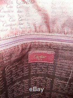 Sac à main Cartier en cuir bordeaux / Cartier Hand bag / CARTIER VINTAGE