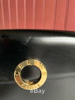 Sac a main Celine Vintage Cuir Noir Boucle Dorée Ronde