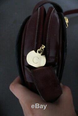 Sac a main Celine Vintage Cuir bordeaux Boucle Dorée France paris