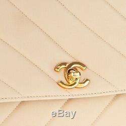 Sac à main Chanel vintage en cuir d'agneau matelassé beige en très bon état