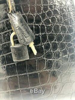 Sac à main Hermes Kelly en cuir de Crocodile noir 32cm