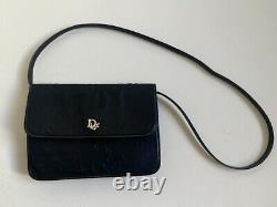Sac à main baguette CHRISTIAN DIOR monogramme noir logo Vintage 1980's