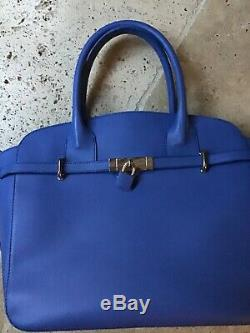 Sac à main cuir bleu marque RENOUARD État neuf Impeccable