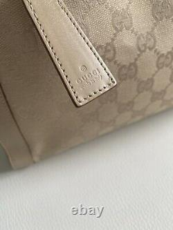 Sac à main en cuir beige GUCCI toile monogramme logo